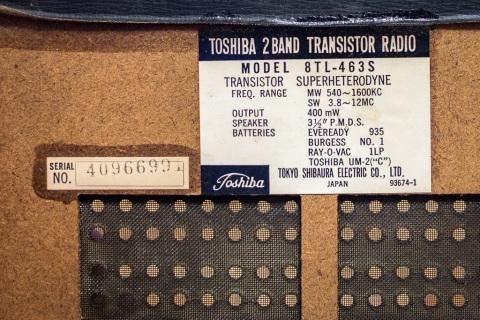 Toshiba 8TL-463S Radio Inside label