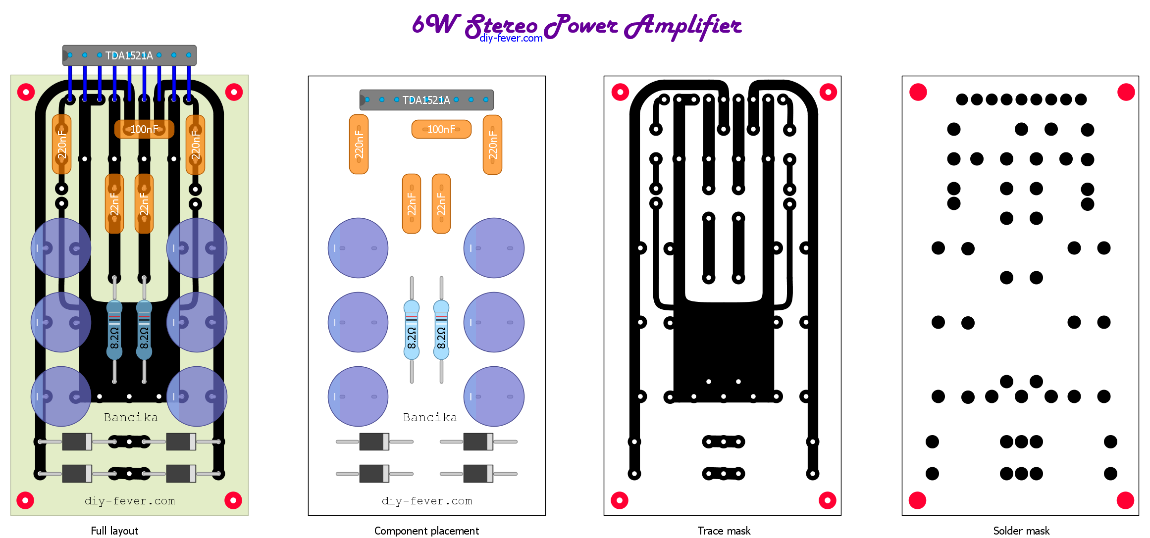 2x6w Stereo Amp Diy Fever Circuits Gt Boss Dd 2 Digital Delay Guitar Pedal Schematic Diagram Data Sheet Calls For A Pair Of 680uf Capacitors In Addition To Those I Added 820uf And 220uf Total 1720uf Per Rail