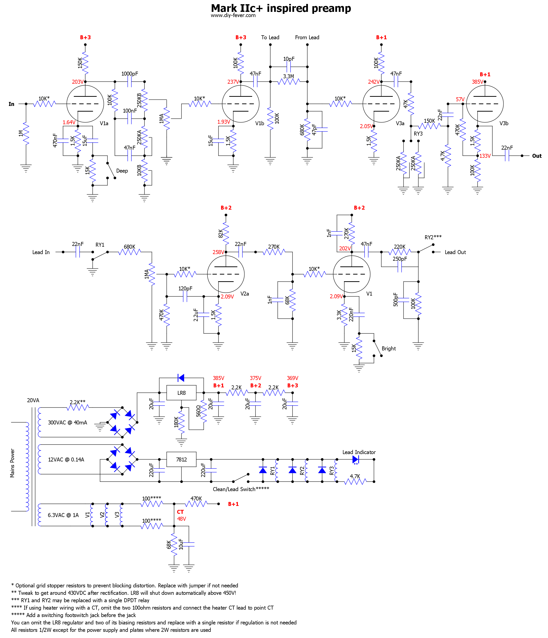 Mesa Mark Iic Pre Pcb Diy Fever Circuits Gt Making A Homemade Power Amplifier Layout Included Schematic